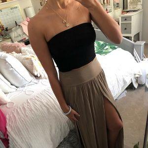 Beige high slit maxi skirt